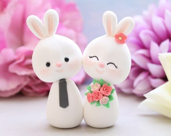 Custom Bunny wedding cake toppers - bride and groom figurines rabbit personalized elegant rustic country pink white coral funny farm animal