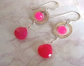 Hot Pink Earrings- Chalcedony, Textured rings in Sterling Silver