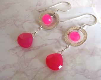 Hot Pink Earrings- Chalcedony, Sterling Silver