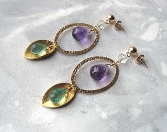 Apatite Amethyst Earrings- Aquamarine, Gold Filled