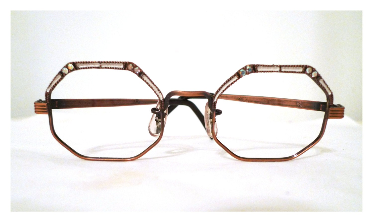 Designer Eyeglass Frames With Rhinestones : 12K GF Rhinestone Hexagonal Eyeglass Frames with Bronze