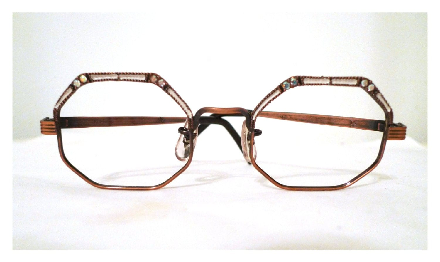 Designer Eyeglass Frames Bling : 12K GF Rhinestone Hexagonal Eyeglass Frames with Bronze