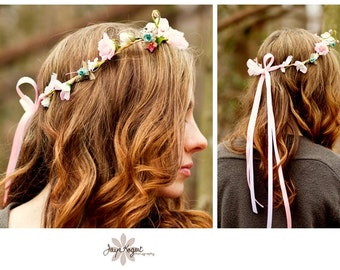 Bridal Hair Wreath Wedding Accessories -Sara- flower crown pale Pink silk flowers spring bridal photo prop faux circlet headwreath