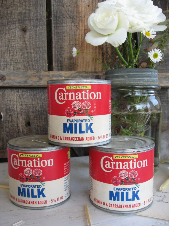 Vintage Tin Carnation Evaporated Milk Can Coin Bank - New Old Stock, Label, Advertising Retro Kitch 1960s