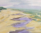 Watercolor Painting OOAK Water, Beach, Sand, Lavender, Gray, Green, Yellow