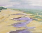 Watercolor Painting OOAK Water, Beach, Sand, Lavender, Gray, Green, Yellow - sandrasilk