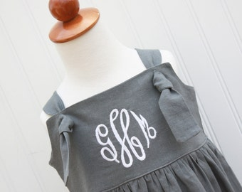NEW...The Ava...Linen Knot Dress, Girls Monogrammed Dress