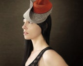 Red and Grey Sculptural Felt Hat - Botanical Series - Made to Order