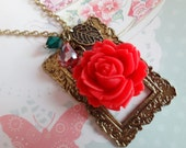 Garden in a Frame Necklace. Fresh Red Rose with Leaf Charm.