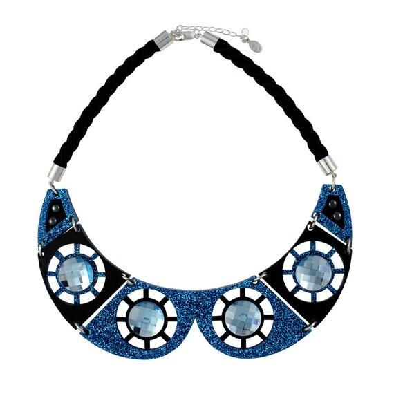 Celestial collar necklace blue Swarovski crystals
