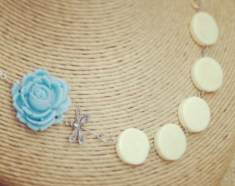 Dragonfly and Blue Flower Necklace