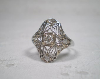 Vintage Diamond Filigree Ring / set in Platinum / Engagement ring / Quarter Carat / April / Wedding ring / right hand ring / anniversary