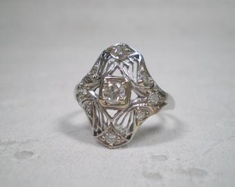Vintage Diamond Filigree Ring / set in Platinum / Engagement ring / Quarter Carat / April / Wedding ring / right hand ring / anniversary
