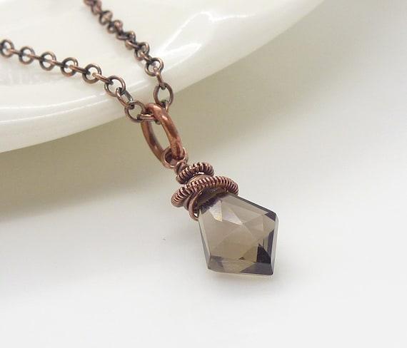 Copper necklace - Small smoky quartz necklace, wire wrapped brown quartz and copper pendant, handmade copper jewelry