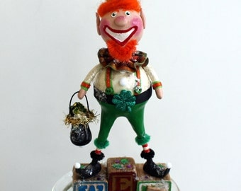 Leprechaun Whimsical St. Patrick's Day Collectible Art Doll