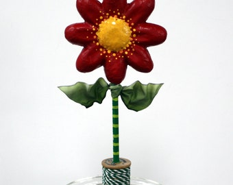 Red Spring Flower in Vintage Spool Sculpted Paper Mache Decoration