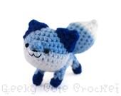 Blue Fox Plush Toy Stuffed Animal Amigurumi Crocheted