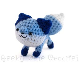 Blue Fox Amigurumi Crocheted plush toy