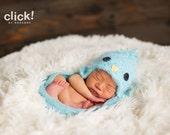 Newborn to 12-24 months baby Blue Bird hat with earflaps