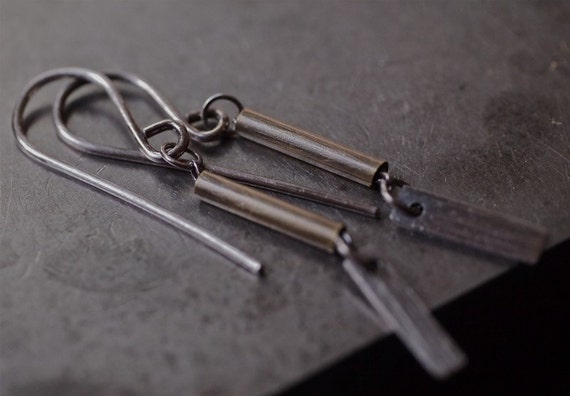 Modern lightweight mixed metal tube and bar earrings