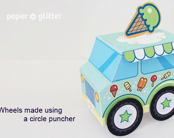 Ice Cream Party Favor Box Truck Paper Craft Toy Green - Editable Text Printable PDF