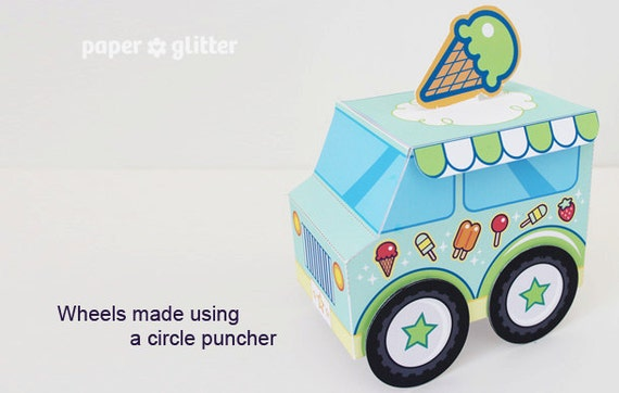 ice cream party favor box truck paper craft toy green