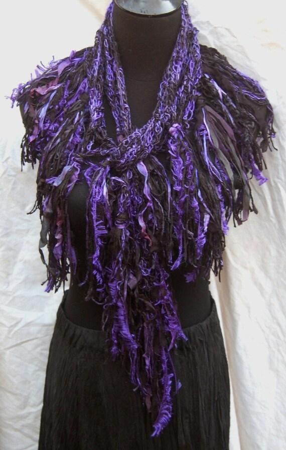 Violet Purple & Black Silk Handmade Crochet Scarf