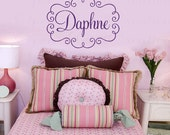 Monogram Wall Decal with Name and Swirl Frame - Shabby Chic Frame with Personalized Name Vinyl 22h X 32w FN0526