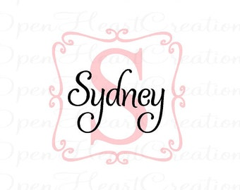 Swirl Square Frame Personalized Name Vinyl Wall Decal - Girl Monogram Wall Decal 22 x 22 FN0077