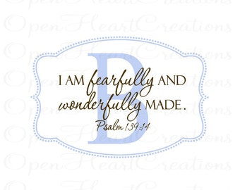 I am Fearfully and Wonderfully Made Wall Decal with Initial Polka Dot Border - Initial Wall Decal with Scripture Overlay 22H x 32W Fn0422
