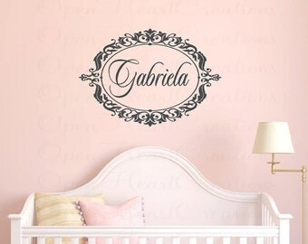 Initial and Name Wall Decal with Ornate Elegant Frame - Nursery Girl Vinyl Wall Decal Monogram 22H x 32W FN0222