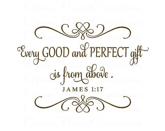 Every Good and Perfect Gift Wall Decal - Elegant Scripture Baby Nursery Decal with Heart Accents 22x 32W BA0369