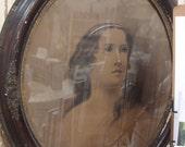 Vintage AWESOME Large St. Agnes Agnus Religious Woman Framed Portrait
