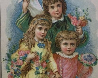 Pretty Long Haired Girls and Boys w/ Colorful Flowers - Victorian Antique Reward Card - Christmas Card- 1800's