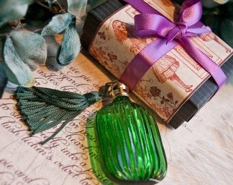 the druscilla bottle - natural perfume oil held captive in lavish green bottle w/tassel - over 60 victorian inspired aroma options