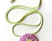 Lavender Green Flower NecklaceCeramic Pendant Floral Jewelry Spring Summer - azulado