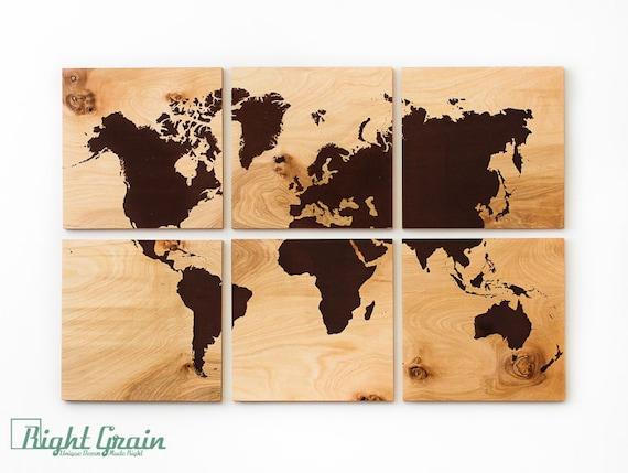 Wood Grain World Map Screen Print Large Wall Art By Rightgrain