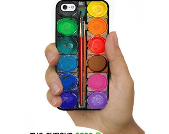 iPhone 5S Rainbow Watercolor Paint Box Plastic or Rubber Case for iPhone 5 iPhone 5S Great for Artists and Painters