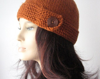 Hand Knit Hat Womens, Knit Button Tab Hat, Knit Beanie, Hat Vegan Knits, Women Knitted Hat, Rust Cloche Hat