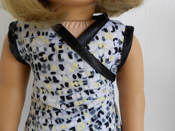 The FRACESCA - Sleeveless Geometric Print Wrap Front Dress and Doll Ring for American Girl Dolls by DolzDreamzzz