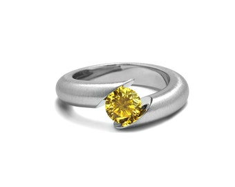 Yellow Sapphire Tension Set Ring Tapered Mounting in Stainless Steel