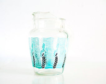 Vintage Glass Pitcher with Fun Undersea Pattern