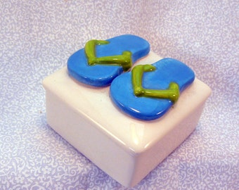 Ceramic Flip Flop Keepsake Box Blue Lime