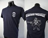 Vintage Police Tshirt Rocky Hill CT Connecticut Lion Cartoon Crest Navy Blue MEDIUM