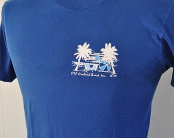 Vintage Maine 80s 90s Tee Royal Blue Simple Classic TShirt SMALL MEDIUM