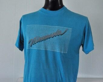 Near Burnout Vintage Tee Minnesota Neon Grid Paint Splatter Design Teal Aqua Blue Tshirt 1986 80s MEDIUM