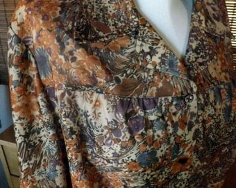 Vintage 70s Near sheer Wing Collar Earth and Jewel Tone Floral Disco Blouse L