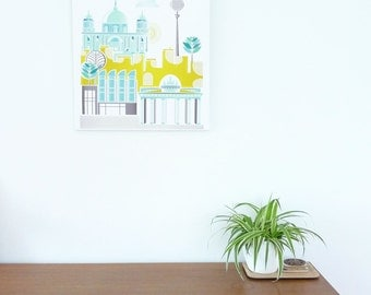 Berlin Skyline, Large Canvas Wall Art Framed Print, Cityscape, illustration, Home decor, Nursery art, ready to hang, gift for Travel