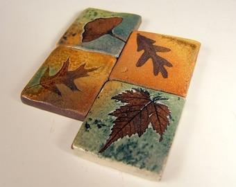 "Handmade Tiles Samples Backsplash Accent Ceramic Tile kitchen bath tree leaves 1.75"" and larger sizes."