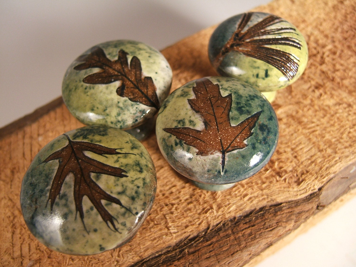 4 Leaf Ceramic Cabinet Knobs or Drawer Pulls Cabinet Hardware